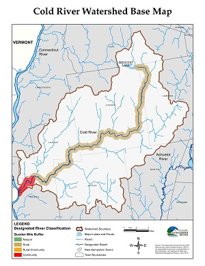 a map of the Cold River watershed