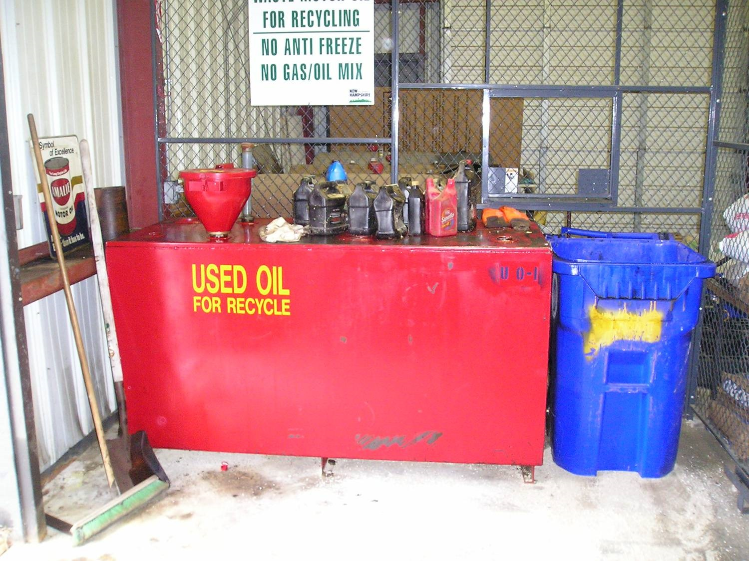 containers of used oil for recycling