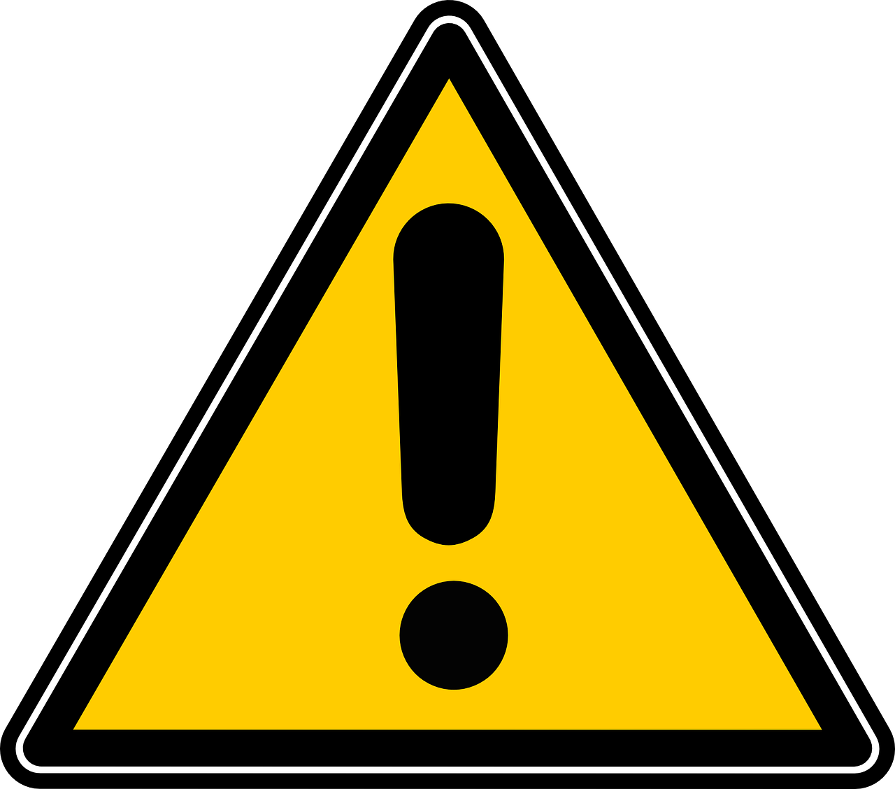 yellow triangle with black border and black exclamation point in the middle