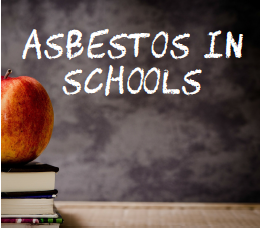 image of chalkboard with asbestos in schools written in chalk