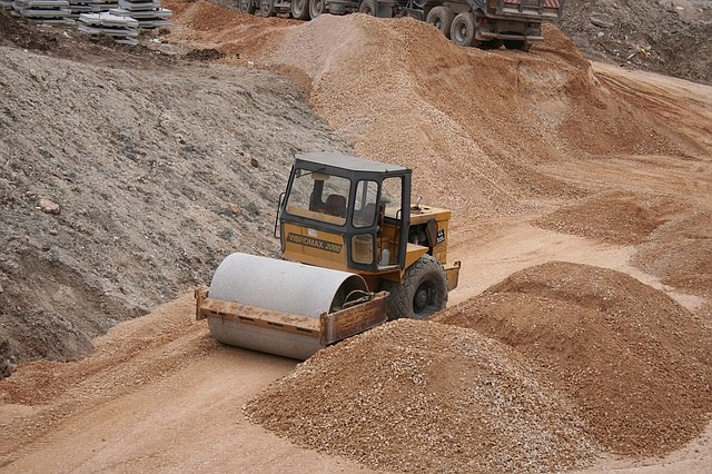 heavy machinery operated at a gravel pit