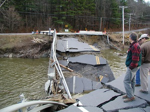 Photo of a bridge collapsed from a flooding event