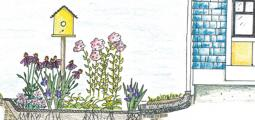 an illustration of a rain garden fed by a storm gutter