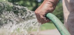 a hand holding a garden hose as water sprays out