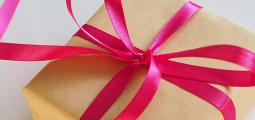 closeup of a gift wrapped in ribbon
