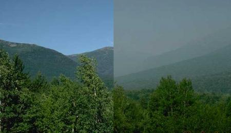 Side-by-side image show a view of mountains in New Hampshire before regional haze rule and after.
